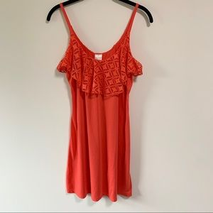 XHILARATION Coral Sundress with Ruffle Accent